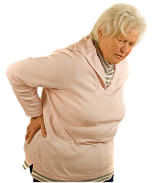 Old lady with back pain